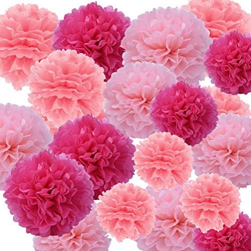 Sicai - Juego de 27 pompones de papel de seda colgantes para decorar bodas o fiestas de cumpleaños, de color fucsia, rosa claro y rosa