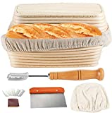 Proofing Basket 10 Inch, Set of 2, TAOUNOA Oval Bread Proofing Basket, with Dough Scraper, Bread Lame, for sourdough breads