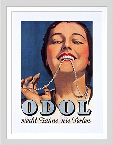 Wee Blue Coo Tandpasta Odol Oostenrijk Vintage Advert Retro Ingelijste muur Art Print