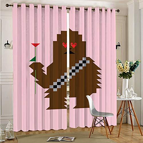 STTYE Cortinas térmicas con aislamiento negro, 2 paneles Love Star Wars Chewbacca con aislamiento térmico para cocina/dormitorio, 117 cm x 138 cm x 2 piezas
