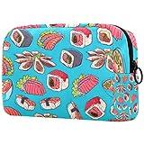 Bolsa de brochas de maquillaje personalizable, portátil, bolsa de aseo para mujer, organizador de viaje, platos asiáticos con camarones Sashimi y mariscos