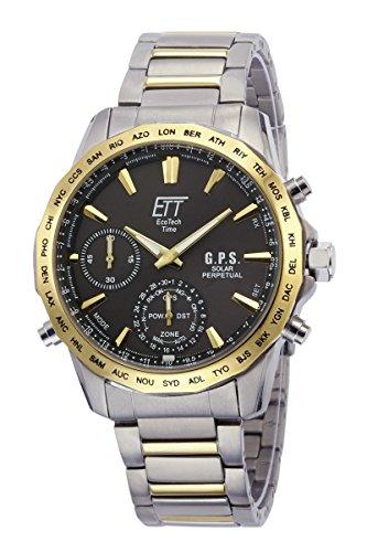 ETT Eco Tech Time GPS Solar wereldtijd herenhorloge chronograaf met titanium armband EGT-11364-65M