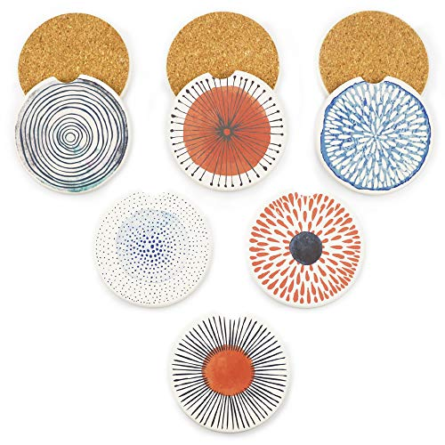 AD Car Coasters Set of 6 Drink- Absorbing Round Ceramic Stone Coaster with a Finger Notch for Easy Removal, Cork Base for Auto Cupholder Accessories Keep Vehicle Clean