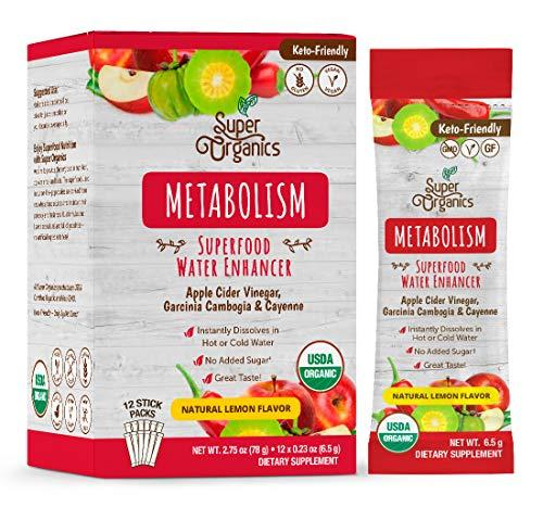 Super Organics Metabolism Superfood Water Enhancer (USDA Organic, Gluten-Free, Non-GMO, Vegan), 12 Count