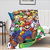 Mario Blanket 3D Print Soft Flannel Throws Blankets Lightweight Bed Blanket for Bedroom Couch Sofa All Season 50'X40'