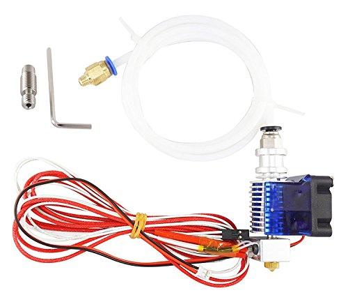 3D FREUNDE E3D V6 - Kit di estrusore J-head con ugello da 0,4 mm, tubo in teflon, ventola e PC4-m6 push-fit per filamento da 1,75 mm + tutti i cavi riscaldati in metallo