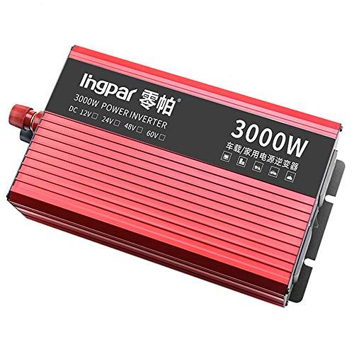 HPDOW 2400W 2800W 3000W Reiner Sinus Wechselrichter Steckdosen 12/24 V DC bis 230V Spannungswandler Inverter für Auto Ladegerät Adapter, mit USB Konverter Steckdose,12V-3000W
