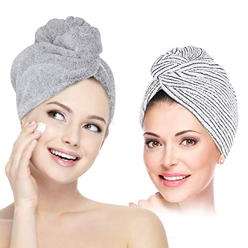 UQXY Microfiber Hair Towel Wrap Turban, Super Absorbent Anti-Frizz Hair Drying Towels Cap for Curly, Long and Thick Hair (Grey&White)