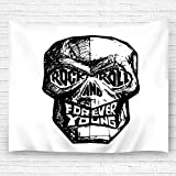 txregxy Wall Art Tapestry Rock Roll Forever Young Black White Skull Fashion Decor Beach Towel Blanket Carpet 51.2'(H) x59.1(W)