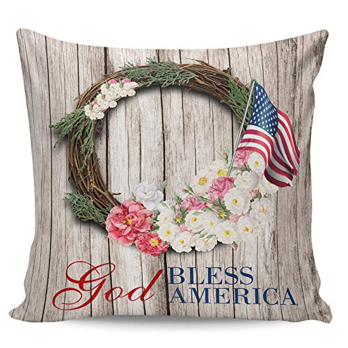 Scrummy Throw Pillow Covers 18' x 18' Independence Day Gorgeous Wreath Retro Wood Grain USA Flag Decorative Pillowcases Square Cushion Cover for Home Decor
