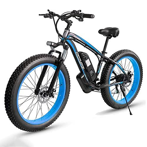 26' Fat Bike Elettrica, Bici Elettrica 1000W con Batteria Al Litio 13Ah, cambio Shimano a 21 velocità, 85Nm, Per Strade Innevate, Spiagge E Strade Di Montagna [EU Warehouse] (blue)