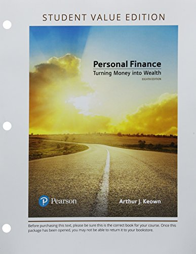 Compare Textbook Prices for Personal Finance, Student Value Edition Plus MyLab Finance with Pearson eText -- Access Card Package  The Pearson Series in Finance 8 Edition ISBN 9780134830216 by Keown, Arthur J.
