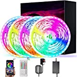 LED Strip Lights with Remote CHUSSTANG LED Lights 20m Bluetooth APP Control & 44-Keys Remote, Music Sync Colour Changing Led Light Strip RGB 5050 LED Tape Lighting for Bedroom, Mood Lights for Home