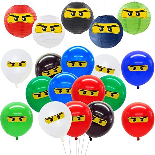 Meuparty Ninja Partydekorationen Liefert Ninja Luftballons Aufkleber Papierlaternen für Geburtstags- und Krieger-Partydekorationen