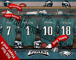 Philadelphia Eagles Team Locker Room Clubhouse Personlized Officially Licensed NFL Photo Print