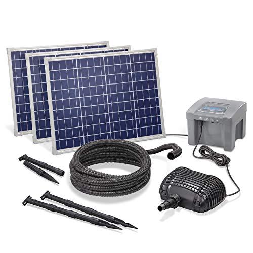 Solar Bachlaufset Professional mit 12V/24Ah Akkuspeicher und 3 x 50W Solarmodul - 4.200 l/h Förderleistung - 1,5 m Förderhöhe - 5m Spiralschlauch - Bachlaufpumpe Gartenteich Pumpe esotec 101975