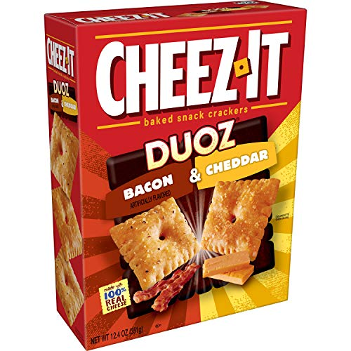 Cheez-It DUOZ Baked Snack Cheese Crackers, Bacon & Cheddar, 12.4 oz Box