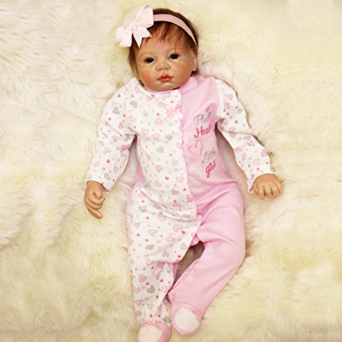Best Price GGGarden 22inch Reborn Baby Girl Doll Silicone Handmade Girl Lifelike Play House Toy