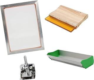 Flameer Silk Screen Printing Kit for T-Shirt DIY Screen Press Printer, Frame/Emulsion Scoop Coater/Squeegee/Clam