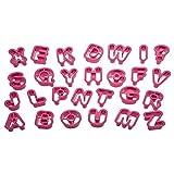 Decora Confezione 27 Tagliapasta Alfabeto, Plastica, Rosa, 5.2 x 2.2 cm