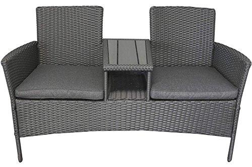 Polyrattan Gartenmöbel Sitzbank mit Polywood-Tisch grau