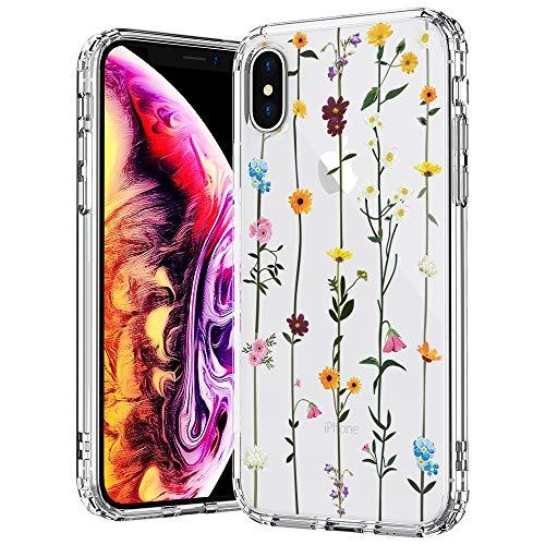 MOSNOVO Cover iPhone X, Cover iPhone XS, Fiore di Campo Fiori Floral Flower Trasparente con Disegni TPU Bumper con Protettiva Custodia Posteriore per iPhone X/iPhone XS (Wildflower Floral)