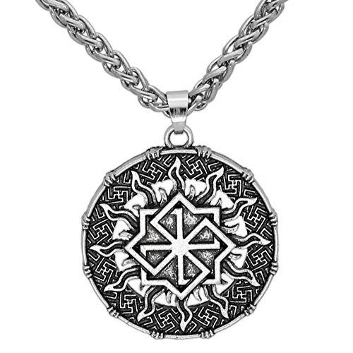 NICEWL Viking Slavic Symbol Runenanhänger Halskette, Handgefertigtes Nordisches Mythologie-Amulett, Männer Unisex Vintage Sonnenrad Keltischer Heidnischer Schmuck