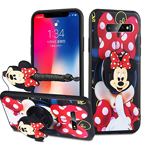 HikerClub Galaxy S10 Plus Case Lovely 3D Cartoon Case Mickey Minnie Mouse Soft TPU Silicone Cover with Pop Out Phone Stand Grip Holder and Neck Strap Lanyard (Red, S10 Plus)
