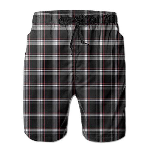 Herren Badehose Golf GTI Plaid Schnelltrocknende Kordelzug Surfing Beach Shorts mit Taschen, Größe XL