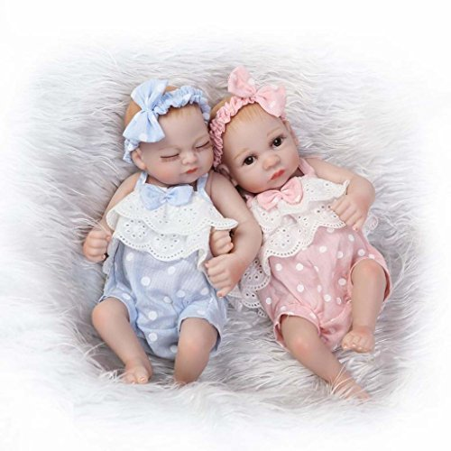 TERABITHIA Mini 10' Realistic Reborn Baby Girls Dolls Silicone Full Body Newborn Twins Washable