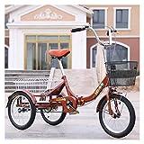 ZFF Plegable Triciclo para Adultos Mini 16 Pulgadas Bicicleta De Tres Ruedas...