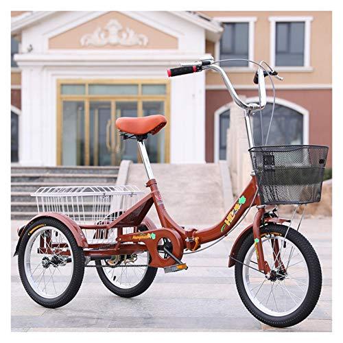 ZFF Plegable Triciclo para Adultos Mini 16 Pulgadas Bicicleta De Tres Ruedas Velocidad Única 3 Ruedas con Talla Grande Cesta por Recreación Compras Ejercicio (Color : Brown)