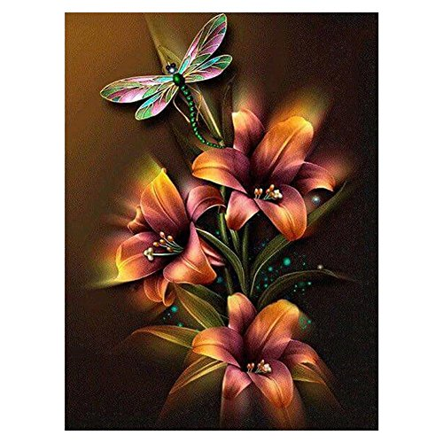 Whitelotous Dragonfly Flower 5D DIY Diamond Painting Kits Partial Round Rhinestone Needlework Embroidery Cross Stitch Craft Best Gift Home Wall Decor