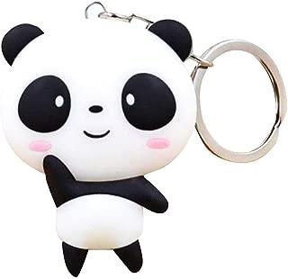 JewelBeauty Kawaii Shy Cartoon Lovely Mini Panda Keychain Cute Animal Pendant Silicone Key Ring