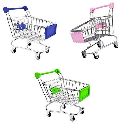 MagiDeal 3pcs Mini Panier D'achats pour Enfant Magasin Jouet - Rose / Vert / Noir