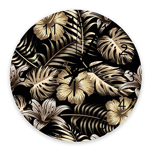 Reloj de pared redondo de madera de 10 ', silencioso, con pilas, sin tictac, con azulejos dorados, florales y hojas, silencioso, oficina, cocina, dormitorio, reloj de pared, decoración del hogar, plan