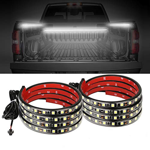 AUTUNEER 60Inch LED Truck Bed Lights, 2PCS White Truck Bed LED Strip Light Kit, Waterproof Truck Bed Lighting Bar Switch Fuse Splitter Cable for RV SUV Vans Cargo Boats, Auto Lights