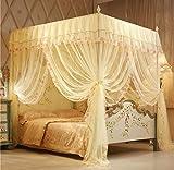 Regalo! Baldacchino da principessa per letto matrimoniale, bianco , Yellow, King (1 X Bed Canopy+Bed Canopy Frame)
