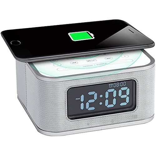 despertador cargador inalámbrico Despertador de Carga Inalámbrica Compatible para Teléfonos Android y Teléfonos IOS Tiempo de Visualización Puerto USB Reproductor Auxiliar Bluetooth Altavoz Cargador I