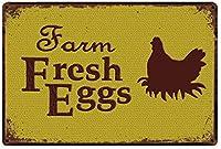 養鶏場新鮮な卵錫サインヴィンテージノベルティ面白い鉄の絵の金属板