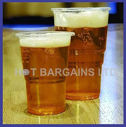 50 vasos desechables de plástico con marcas, resistentes vasos desechables, viene en dos mangas de 25 tazas, lo mejor para fiestas, ocasiones al aire libre, pubs, transparente, HALF PINT - 300ML