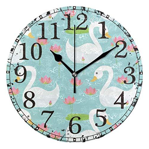 Reloj de pared Cisne blanco jugando a la piscina de flor de loto Reloj de acrílico redondo Negro Números grandes Reloj silencioso sin tictac Reloj decorativo retro con pilas para la biblioteca del hot