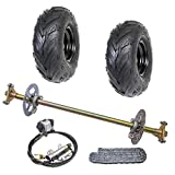 WPHMOTO Go Kart Rear Axle Assembly Complete Wheel Hub Kit & Tires With Rim & Brake Assembly & T8F Chain for Quad Trike Drift Bikes