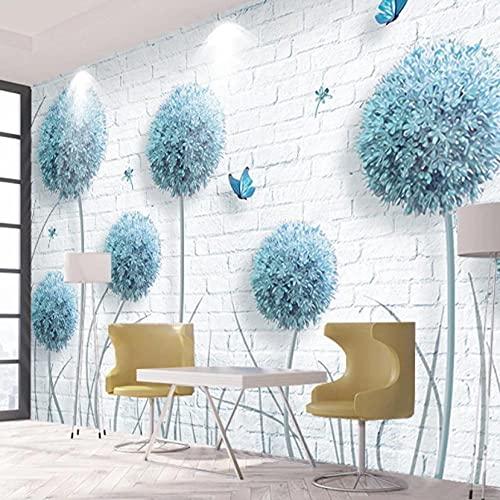 Papel pintado de foto 3D personalizado flor diente de león pared de ladrillo blanco sala de estar decoración de dormitorio pintura mural Papel De Parede
