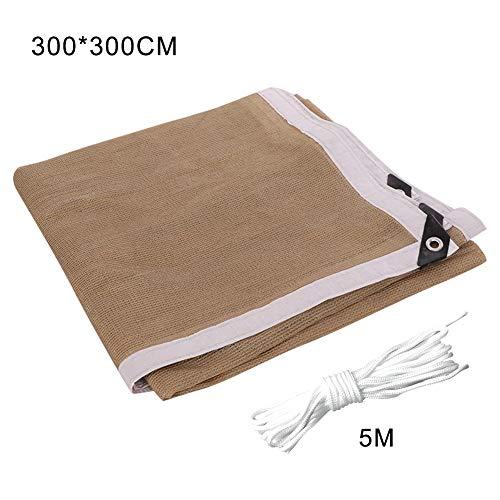 VKTY - Panel de sombra, tela de sombra, borde sellado con ojales de malla para pérgola cubierta de toldo de 5.56 pies x 9.8 pies, 3 m x 3 m.