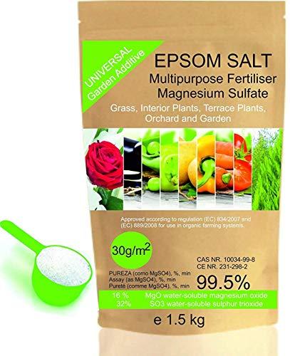 bleu & marine Bretania Natürliches Bittersalz 1.5 Kg. Organischer Verwendung. Förderung des Wachstums der Kulturpflanzen, Gärten und Zimmerpflanzen.