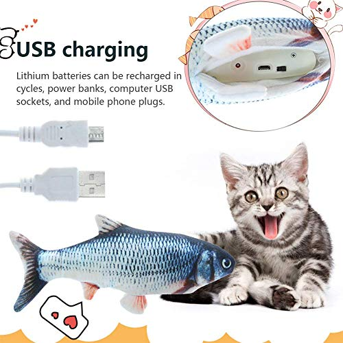 99AMZ Spielzeug mit Katzenminze, Katze Interaktive Spielzeug, Katze Fischform Zahnbürste, Elektrische Puppe Fisch Plüschtier, 30CM Simulation Fisch, Kissen Kauen Spielzeug für Katze (A)