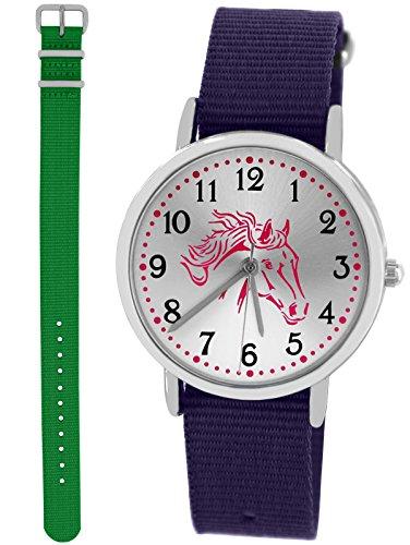 Pacific Time Kinder-Armbanduhr Mädchen Jungen Pferd 2 x Schnellwechsel Textilarmband analog Quarz Sport violett grün 10024