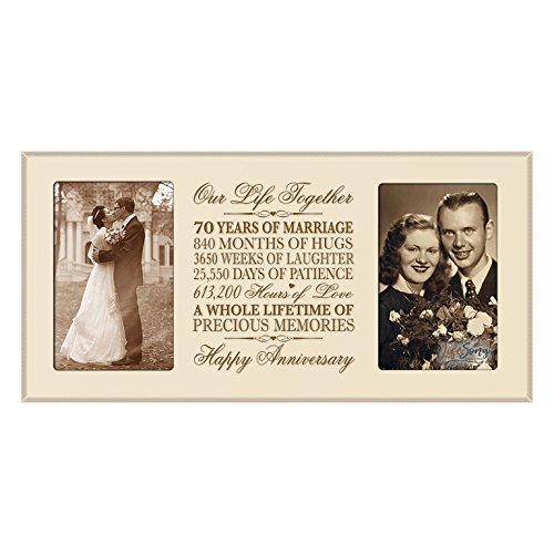 LifeSong Milestones 70th Anniversary Picture Frame Gift 70th Wedding Anniversary with Anniversary Dates (Ivory)