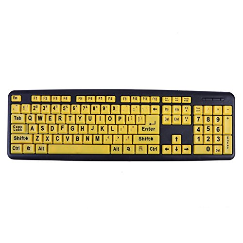 HDE Large Print Keyboard Wired Large Letter Key Keyboard USB Keyboards for Visually Impaired (Yellow Keys)